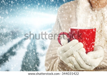 red mug and woman  - stock photo
