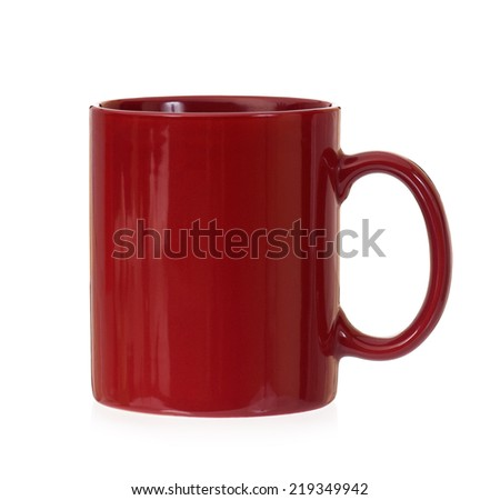 Red mug empty blank, isolated on white background - stock photo