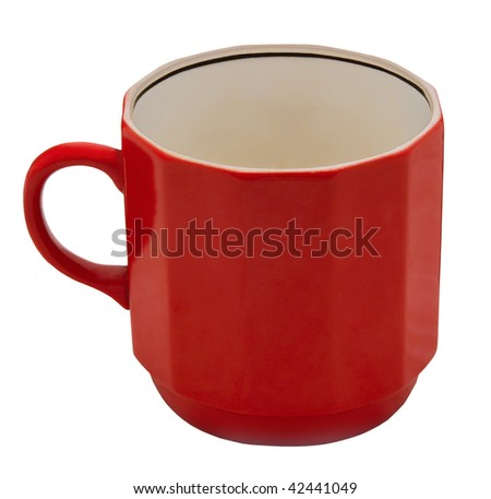 red mug isolated on white background with clipping path