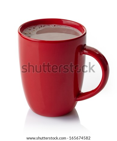 Red mug of hot chocolate drink isolated on white background - stock photo