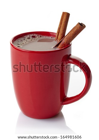 Red mug of hot chocolate drink with cinnamon sticks isolated on white background - stock photo