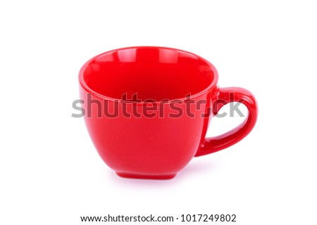 red mug on white background, background for design