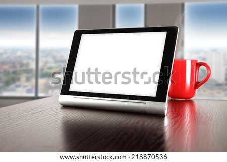 red mug table and white space  - stock photo