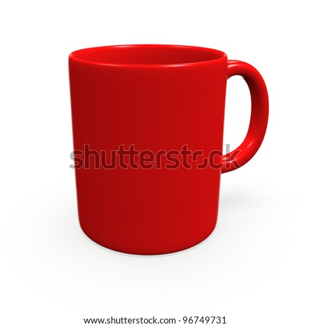 Red mug with copy space insert logo & clipping path - stock photo