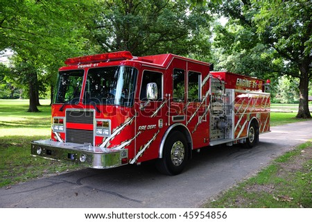 Red Municipal Fire Engine - stock photo