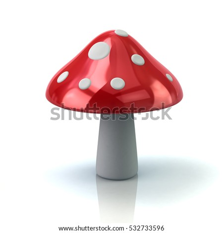 Red mushroom icon 3d rendering on white background