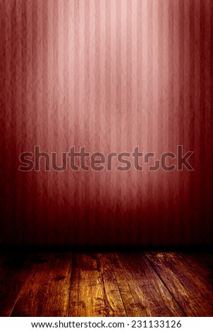 red mysterious and empty room  - stock photo