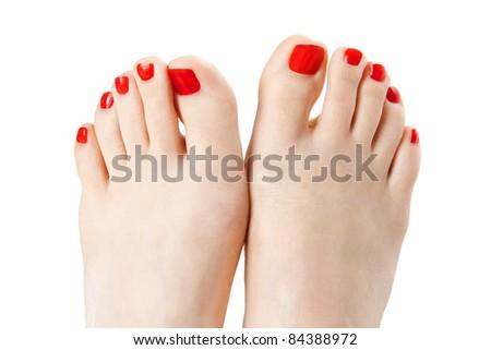 Red nail polish - stock photo