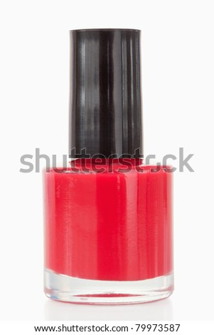 Red nail polish against a white background - stock photo