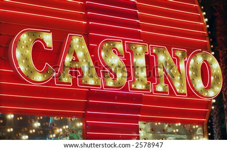 Red neon casino sign - stock photo
