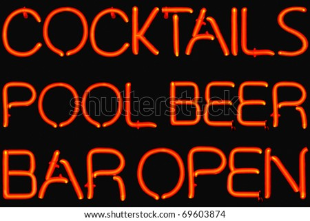 Red neon sign of bar entertainment. - stock photo