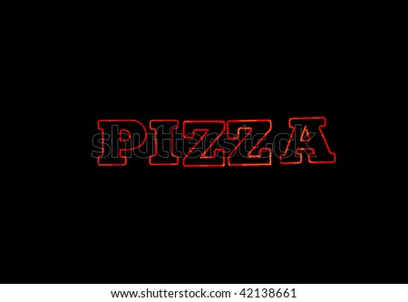 Red neon sign over black with the word PIZZA - stock photo