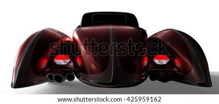 Red new old car brand-less generic concept old fashion car 3d illustration