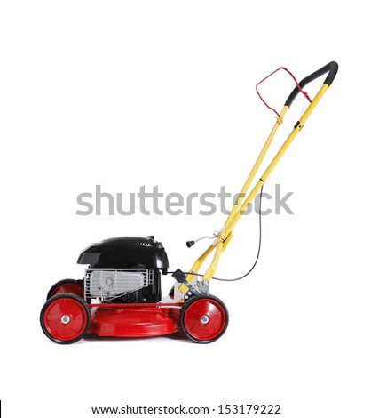 Red new retro-styled lawn mower isolated on white with natural shadow. - stock photo