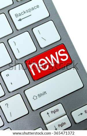 Red news button on keyboard close-up - stock photo