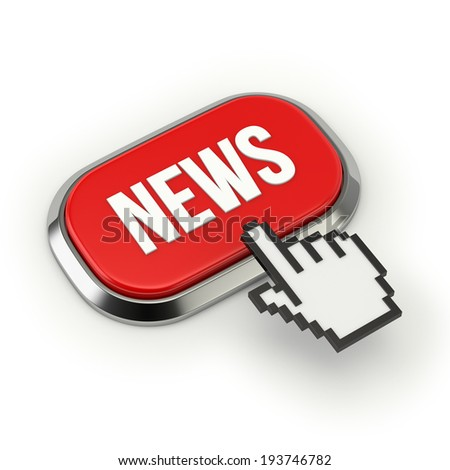 Red news button with metallic border on white background