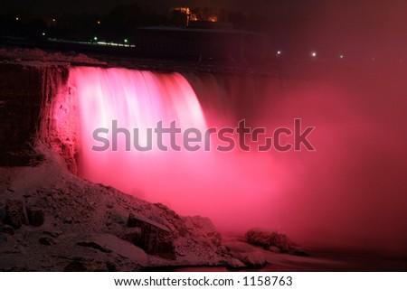 Red Niagara Falls Light - stock photo