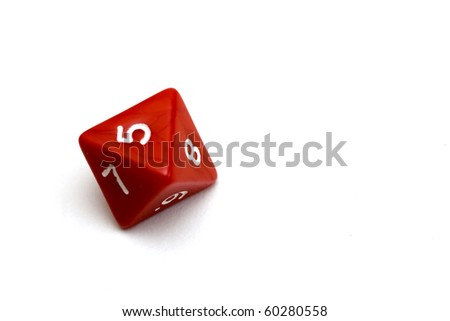 Red nine faces dice over white background - stock photo