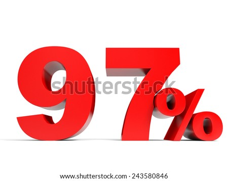 Red ninety seven percent off. Discount 97%. 3D illustration.