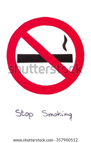 Red no smoking sign made of paper with inscription stop smoking, symbol of prohibited smoking, healthy lifestyle, world no tobacco day