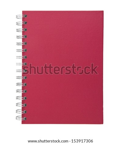 red notebook with clipping path