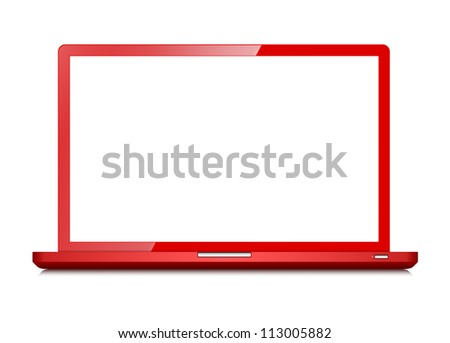 Red notebook with opened screen -  isolated on white background
