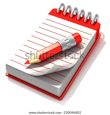 Red notepad and red pen, 3D render illustration, isolated on white background. Side view - stock photo