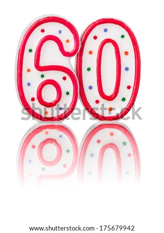 Red number 60 with reflection - stock photo