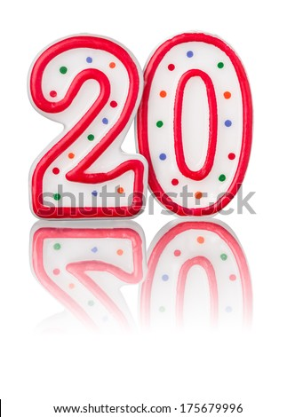 Red number 20 with reflection - stock photo