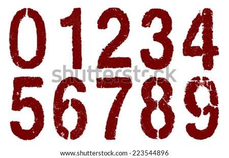 red numbers 0-9 on white - stock photo