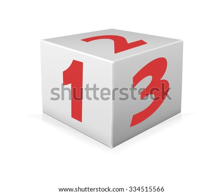Red numbers 123 on white box. One 123 block on white background - stock photo