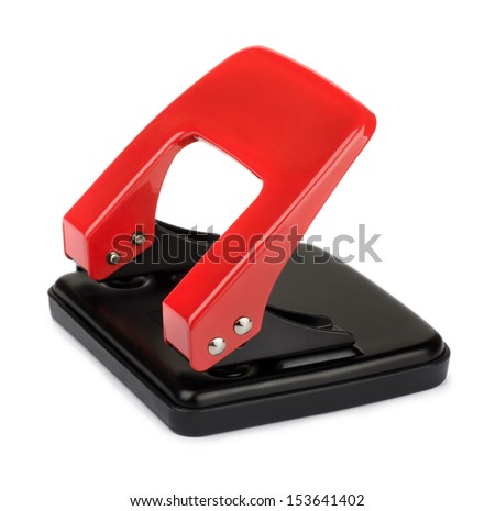 Red office hole puncher isolated on white