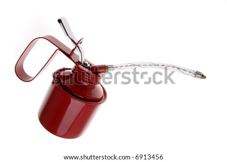 Red oil can isolated over white - stock photo