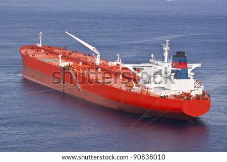 Red oil tanker - stock photo