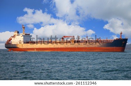 Red oil tanker. In the sea.  - stock photo