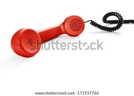 Red old phone - stock photo