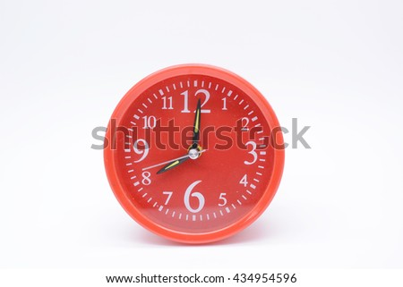 red old style alarm clock isolated on white, red clock - stock photo