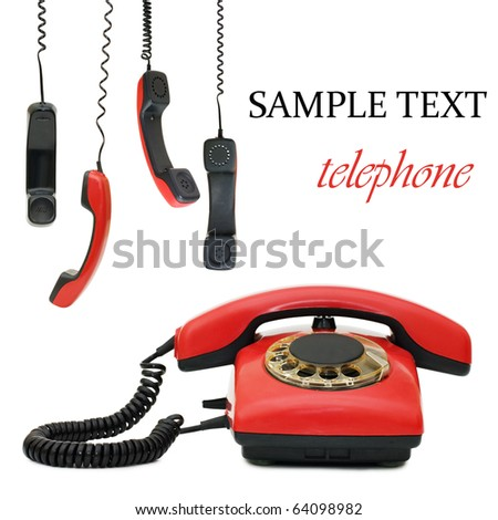 Red old telephone. Composite - stock photo