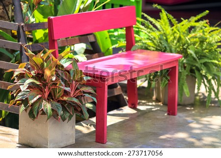 Red old wood chair - stock photo