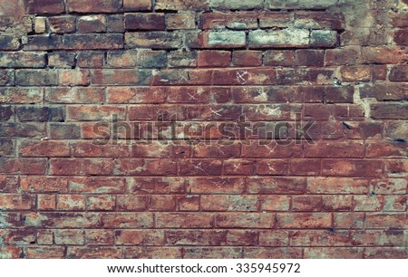 Red old worn brick wall texture background. Vintage effect.  - stock photo