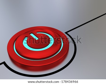 Red on-off button illustration with glowing blue light