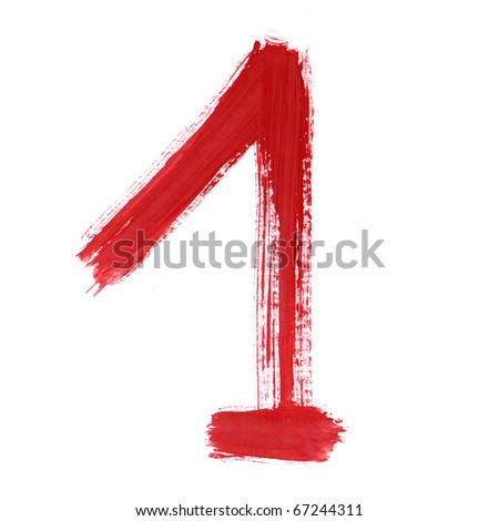 Red one isolated on white background. Number 1 painting stroke sketch. One from collection set.