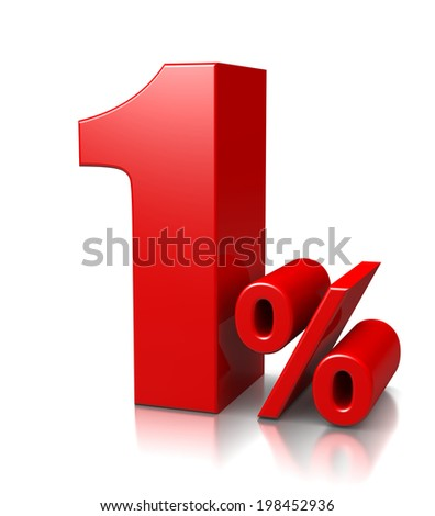 Red One Percent Number on White Background 3D Illustration - stock photo