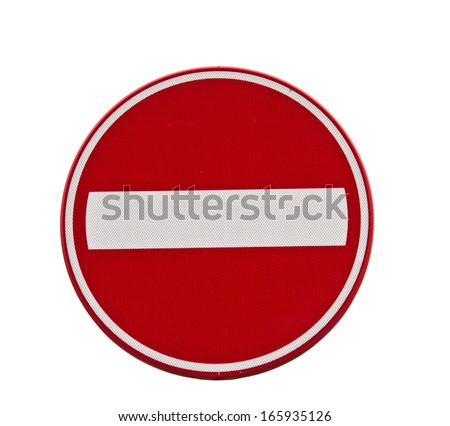 Red one way traffic sign  - stock photo