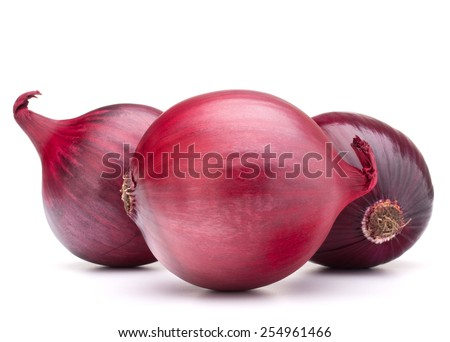 red onion bulb isolated on white background cutout - stock photo