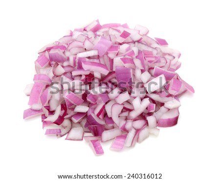 Red onion chopped on white - stock photo