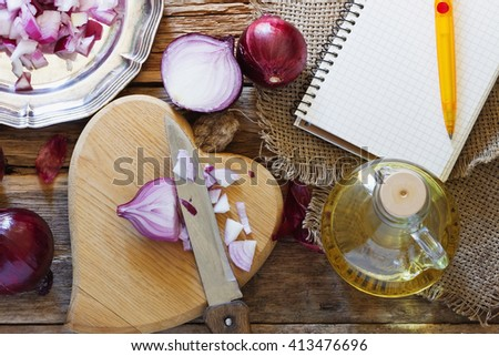 Red onion. Concept of healthy food with vegetables. View from above