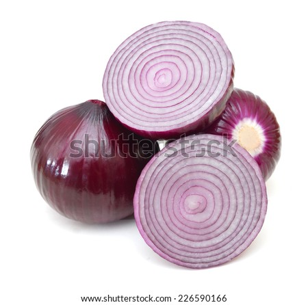 red onion isolated on white  - stock photo