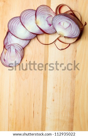 Red onion slices - stock photo