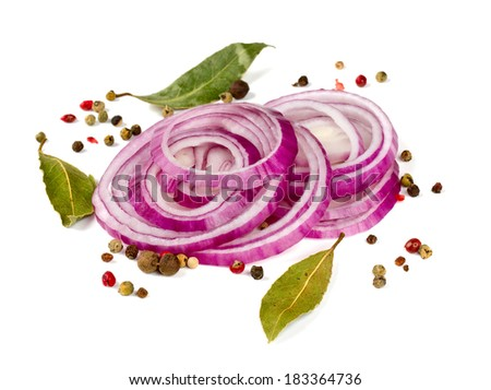 red onion slices isolated on white - stock photo